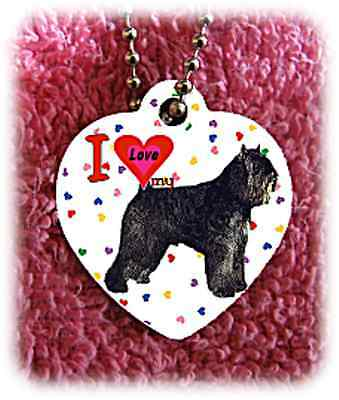 "Bouvier des Flandres Dog heart necklace 24"" chain background of hearts"