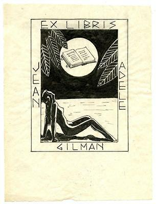 Jean Adele Gilman Antique Bookplate Engraving Etching Woodblock Signed Neal NUDE