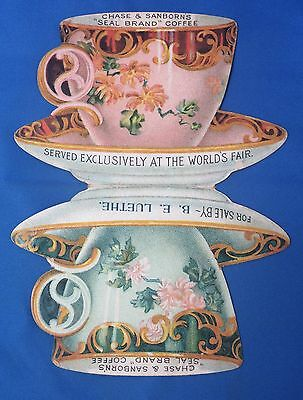 c1890 Chase & Sanborn  COFFEE & TEA CUP Die Cut Advertising Victorian Trade Card