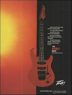 The 1987 Peavey Nitro Series electric guitar ad 8 x 11 advertisement print
