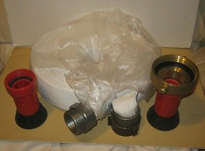 New  50 Foot Cloth Fire Hose With Dixon Nozzles Brass