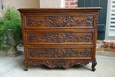 Antique French Carved Dark Oak Chest of Drawers Louis XV Cabinet Table Dresser