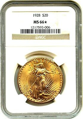 1928 $20 NGC MS66 *Star* - Saint Gaudens Double Eagle - Gold Coin