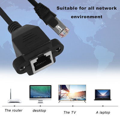 Male To Female RJ45 Ethernet LAN Network Extension Cable For Laptop For PC XRAU