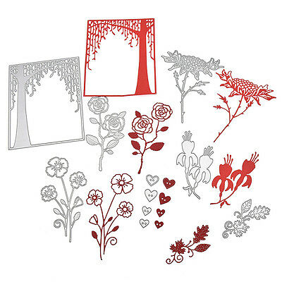 Rose Branch Tree Frame Heart Button Cutting Dies DIY Scrapbook Paper Card Craft