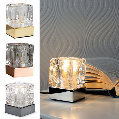 Glass Touch Table Lamp Dimmer Ice Cube Bedside Desk Office Dimmable Light