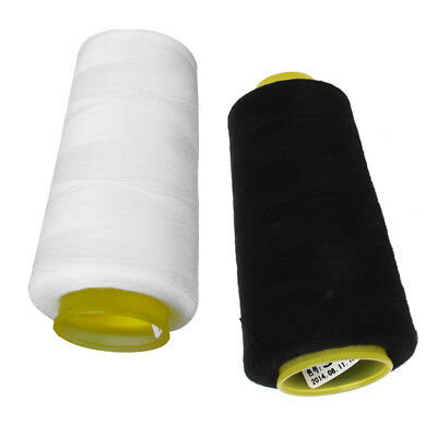 2 Polyester Sewing Machine Thread 6000 Yards Sewing Craft Black White 40S/2