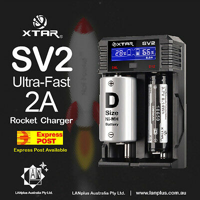 XTAR SV2 Rocket NiMH NiCd Li-Ion Ultra-Fast 2A Output Fast Smart Battery Charger