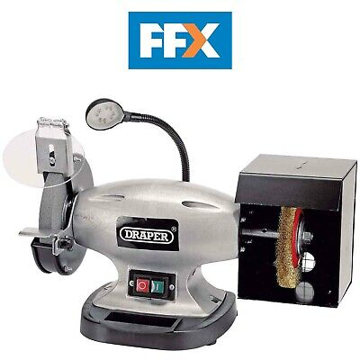 Draper 83421 150mm Bench Grinder with Wire Wheel and LED Worklight 370w