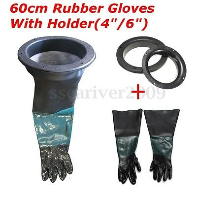 "A Pair Of 24"" Rubber Latex Gloves Replacement + Glove Holder For Blast Cabinet"