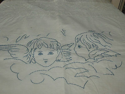 Antique German Hand Embroidered Angels Cherubs Table Mat Or Pillow Cover