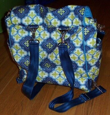 Petunia Pickle Bottom Boxy Backpack Diaper Bag Blue/Green Print, Excellent Cond.