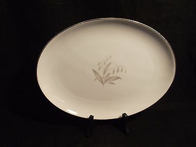 """Kaysons China, 12"""" Oval Serving Platter Golden Rhapsody White Floral & Gold Trim"""