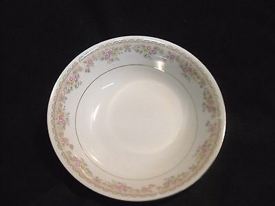 "Baum Bros 9"" Round Vegetable Bowl Dorchester China White Floral with Gold Trim"