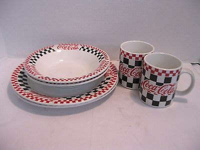 Coca Cola Gibson Dinnerware 2 Plates 2 Bowls 2 Cups Black White & Red