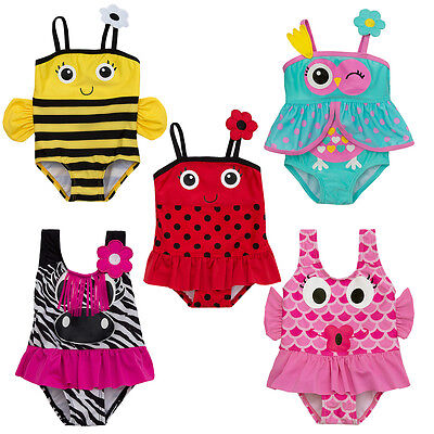 Girls Animal Swimming Costumes3-6M to 5-6Y Fish Bee Ladybird Zebra Tropical Bird