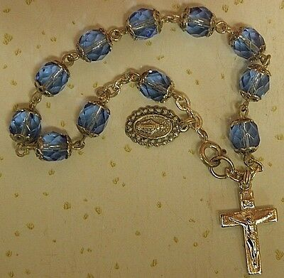 Antique SILVER & Faceted BLUE beads RELIGIOUS ROSARY Bracelet #71