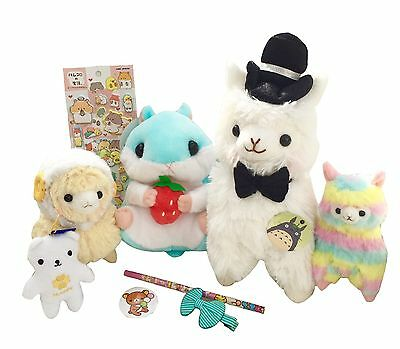 Deluxe Kawaii Box Of 10 ITEMS Cute Alpaca Plushies Hamster Stickers Bow Rainbow
