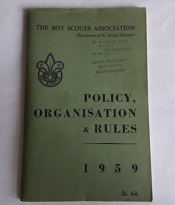 The Boy Scouts Association Policy Organisation & Rules 1959 Bournemouth Stamp