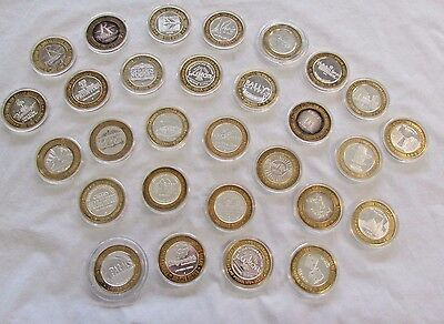 Lot of 29 Limited Edition Ten Dollar Silver Gaming Tokens from Las Vegas