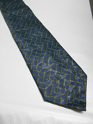 Countess Mara Blue Green and Red Geometric 100% Silk Mens Neck Tie Made in Italy