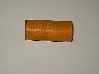 Vintage-Quack-Medicine-Round-Tube-Container-Wood-Box-GOLDINE-Laxative-Tablets