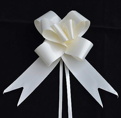 50mm Large 30 Pull Bow Ivory Ribbons Wedding Floristry Car Gift Decorations