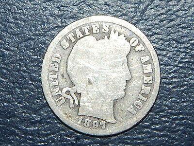 1897 Barber Dime Old US Coin  (2207)