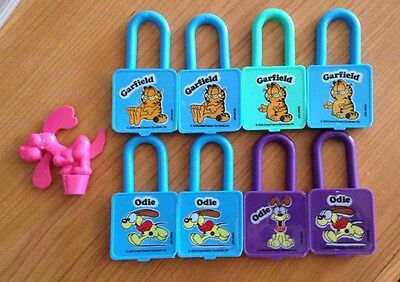 Garfield Odie Pencil Topper & 8 Locks Plastic Vintage 1980s Cereal Box Prize