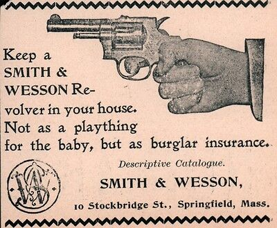 AD LOT OF 2 1896 - 97  ADs SMITH AND WESSON REVOLVER not a baby toy