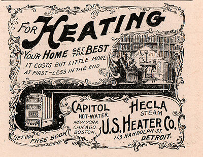 1894 A Ad U S Heater Co Hecla Capitol Steam Library Scene