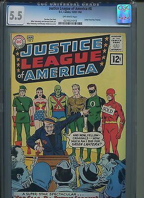 Justice League Of America #8 Cgc 5.5 Dc Comics, 12/61-1/62  Ow Pages