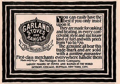 1894 A Ad Garland Stoves And Ranges Detroit Michigan Stove Co