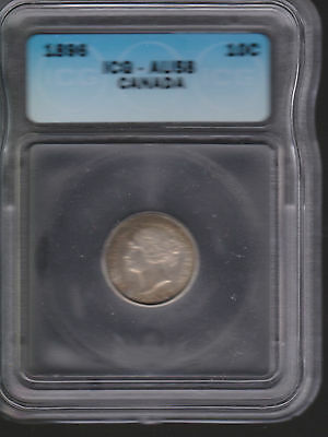 Reduced !! Make Offer !! Certified AU58  1896 10C Canada 10 Cents !!