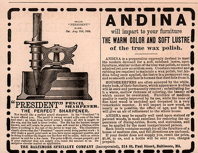 Ad Lot Of 2 1890 's Ads Andina Lustre Presidential Pencil Sharpener Baltimore