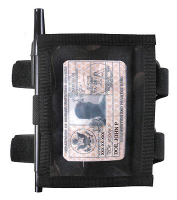 Military Style Black Nylon ID Identification Credential Arm Armband Holder Case