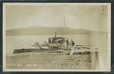 IDAHO McCall RPPC 1910's PAYETTE LAKE STEAM BOAT LAUNCH at DOCK Passengers