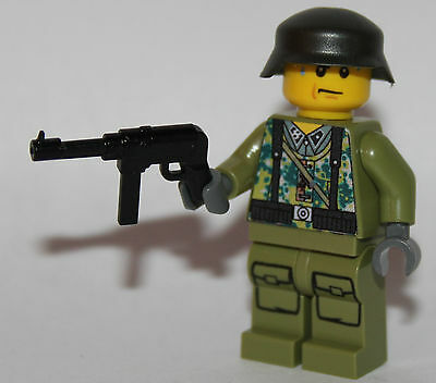 1 GERMAN SS soldier WW2 & MP-40 custom figure camouflage built using lego parts