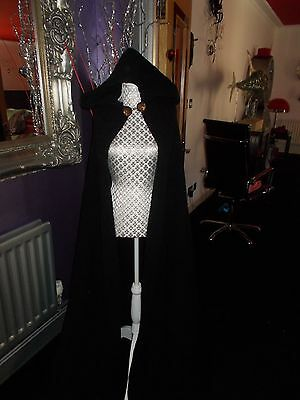 Ladies Hooded Black Cape Hand Made  Am Dram Heavy Unlined Goth Vampire Medieval