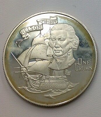 1980 Gibraltar 'Nelson' Silver One Crown Coin