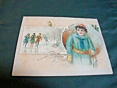 Large Victorian Christmas Greeting Trade Card Adv Lion Coffee Woolson Spice Co