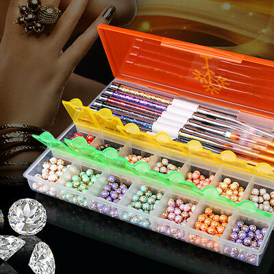NEWEST Plastic Empty Nail Art Storage Box Rhinestones Beads Pens Container Case