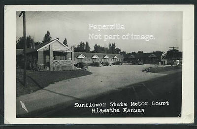 Sharp KS Hiawatha RPPC 1949 SUNFLOWER STATE MOTOR COURT Motel & Cars