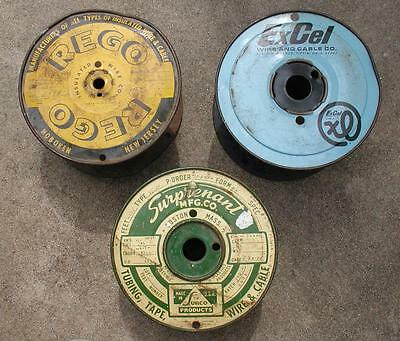 3 Vtg Metal Wire Advertising Spools Great Signage Hoboken NJ Boston MA Fiffin OH