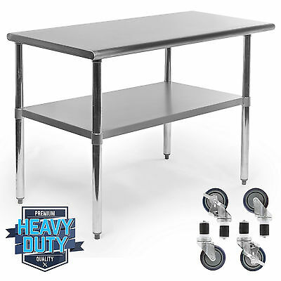 "Stainless Steel Commercial Kitchen Work Food Prep Table w/ 4 Casters - 24"" x 48"""