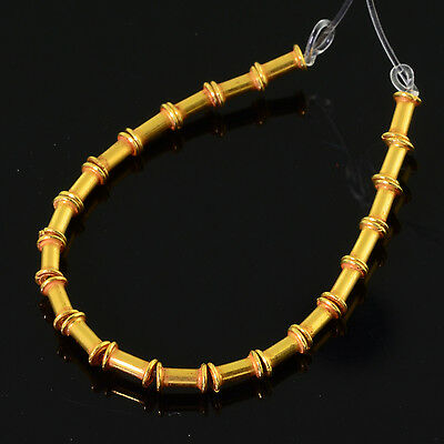 "2.7mmx4.2mm 18k Solid Yellow Gold Fancy Bamboo Tube Spacer Beads 3.5"" Strand(20)"