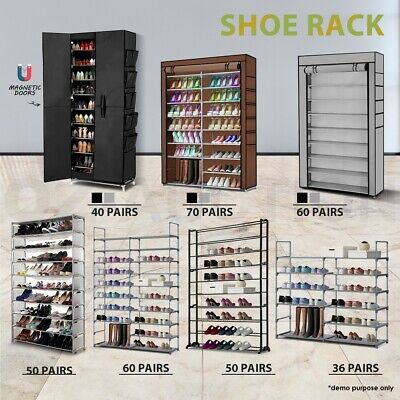 50/57/60 Pairs 10 tiers Organiser Storage Shoe Rack Cabinet Stackable Wardrobe