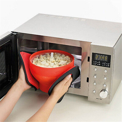 Popcorn Popper Maker Silicone Microwave Bowl Healthy Container Kitchen Home DIY
