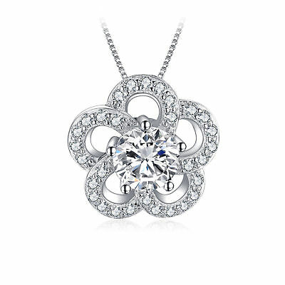 JewelryPalace 1.2ct Cubic Zirconia Flower Pendant 925 Sterling Silver SOLD