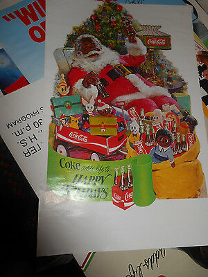 "1970's Coca Cola Santa Poster – ""Coke adds life to … Holiday Fun"